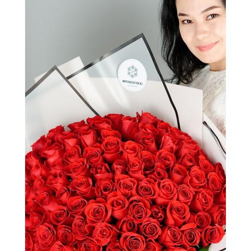 Купить на заказ Букет из 101 красной розы с доставкой в Лисаковске